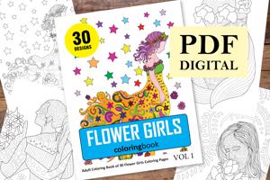 Flower Girls Coloring Book for Adults