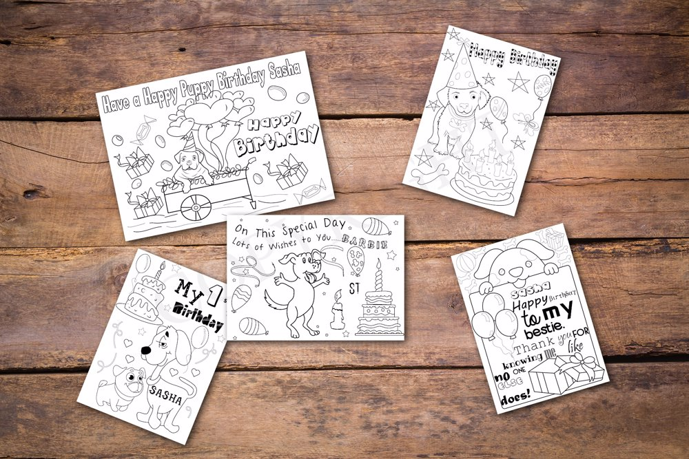 Puppy Theme Personalized Birthday Coloring Book