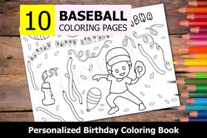 Baseball Theme Personalized Birthday Coloring Book