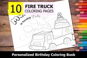 Fire Truck Theme Personalized Birthday Coloring Book