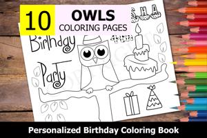 Owls Theme Personalized Birthday Coloring Book
