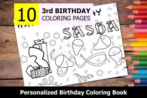 3rd Birthday Theme Personalized Birthday Coloring Book