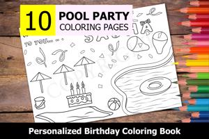 Pool Party Theme Personalized Birthday Coloring Book