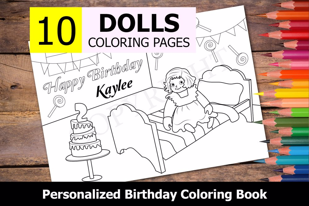Dolls Theme Personalized Birthday Coloring Book