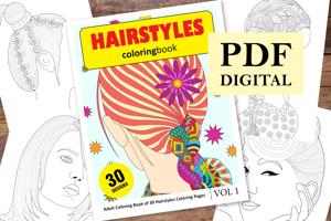 Hairstyles Coloring Book for Adults