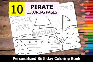 Pirate Theme Personalized Birthday Coloring Book