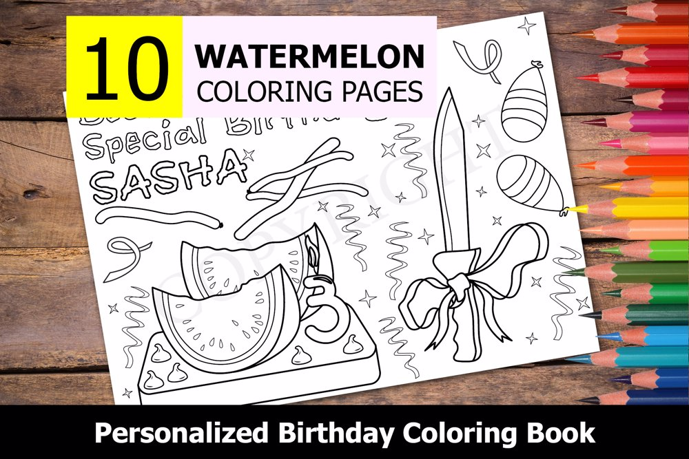 Watermelon Theme Personalized Birthday Coloring Book