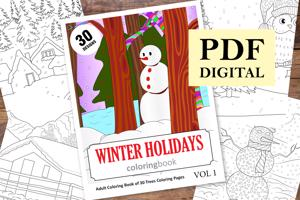 Winter Holidays Coloring Book for Adults