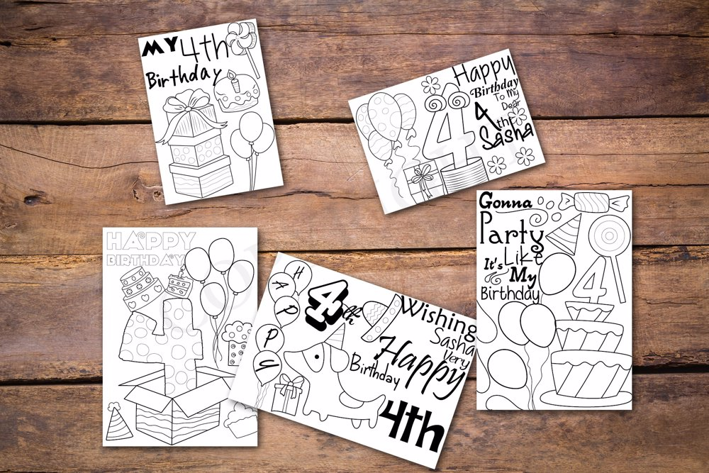 4th Birthday Theme Personalized Birthday Coloring Book