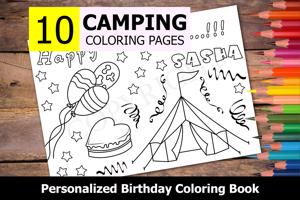 Camping Theme Personalized Birthday Coloring Book