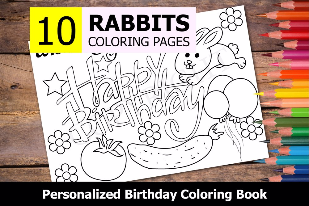 Rabbits Theme Personalized Birthday Coloring Book