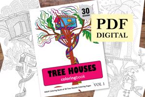 Tree Houses Coloring Book for Adults