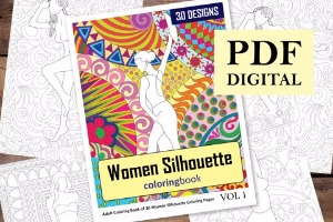 Women Silhouette Coloring Book for Adults