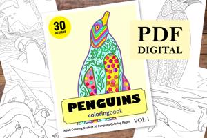 Penguins Coloring Book for Adults