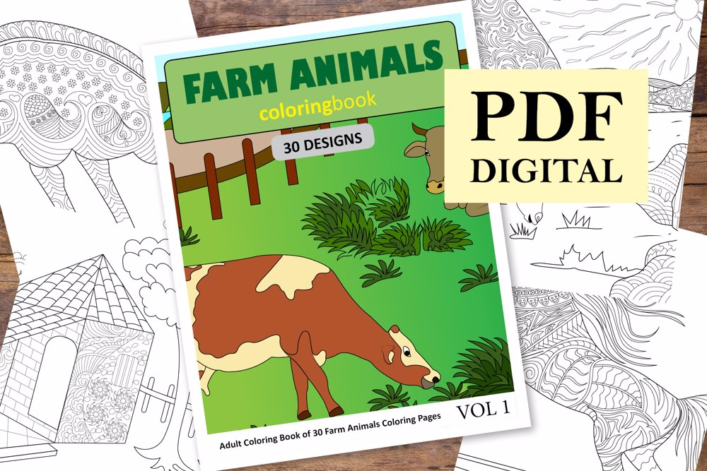 Farm Animals Coloring Book for Adults