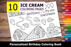 Ice Cream Theme Personalized Birthday Coloring Book