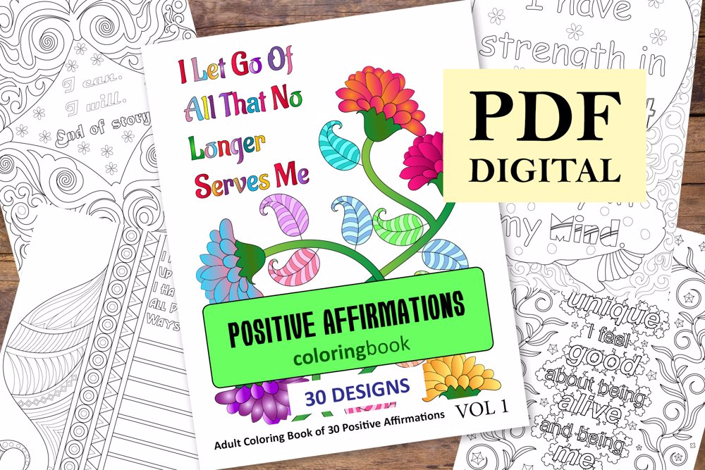Positive Affirmations Coloring Book for Adults