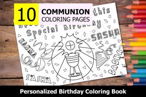 Communion Theme Personalized Birthday Coloring Book