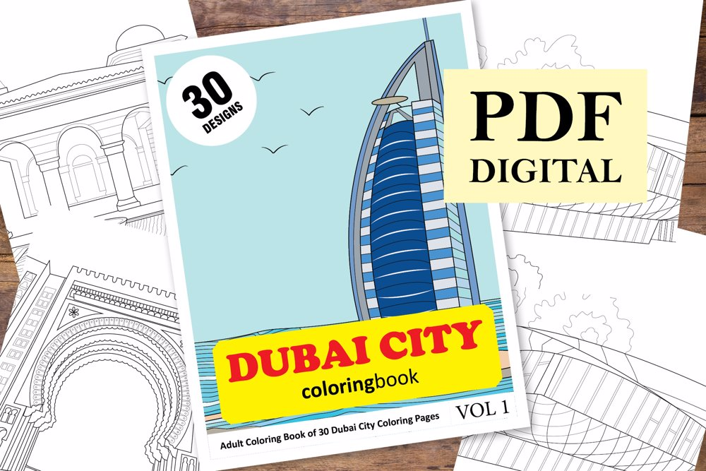 Dubai Coloring Book for Adults