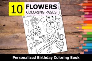 Flowers Theme Personalized Birthday Coloring Book