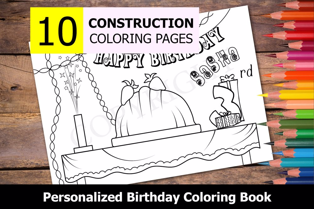 Construction Theme Personalized Birthday Coloring Book