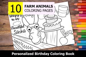 Farm Animals Theme Personalized Birthday Coloring Book