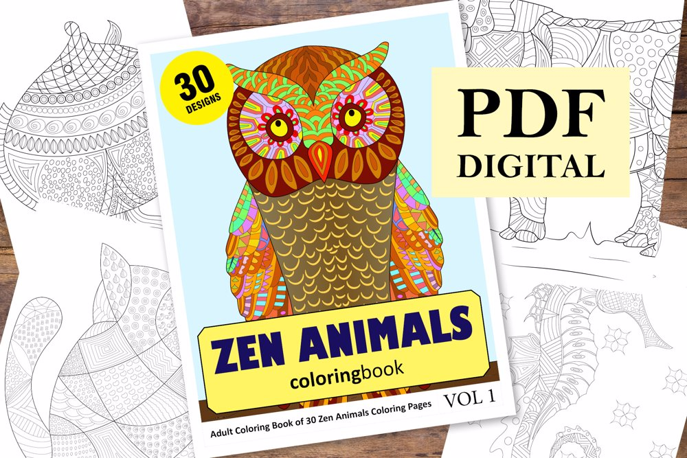 Zen Animals Coloring Book for Adults