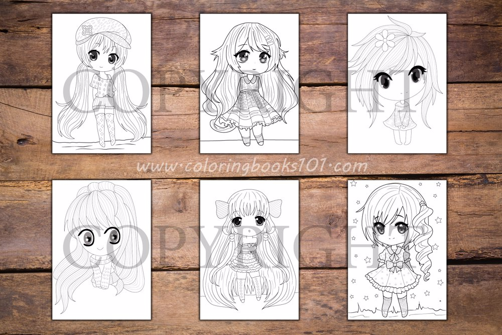 Chibi Girls Coloring Book for Adults