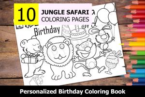 Jungle Safari Theme Personalized Birthday Coloring Book