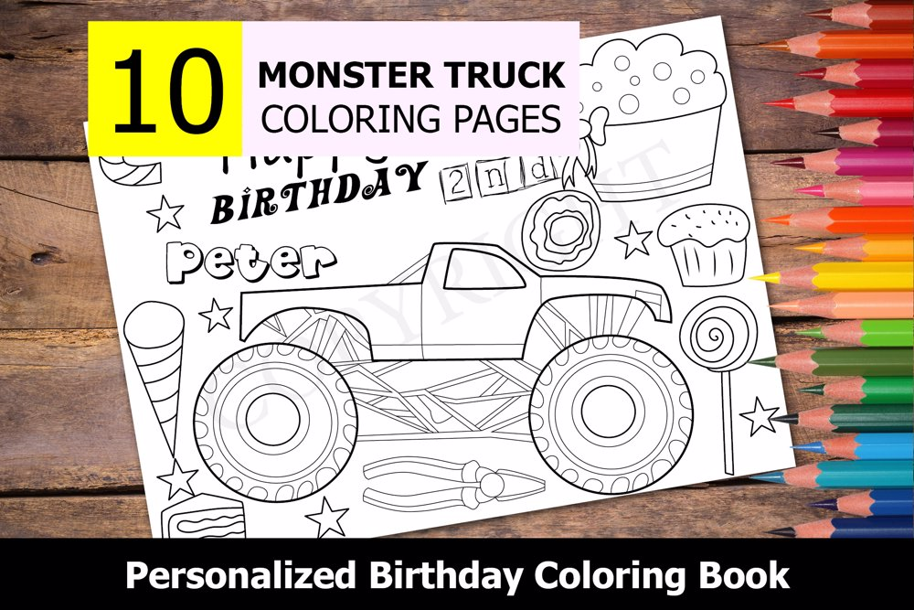 Monster Truck Theme Personalized Birthday Coloring Book