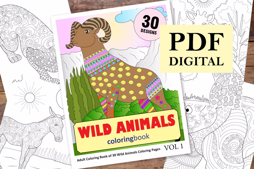 Wild Animals Coloring Book for Adults