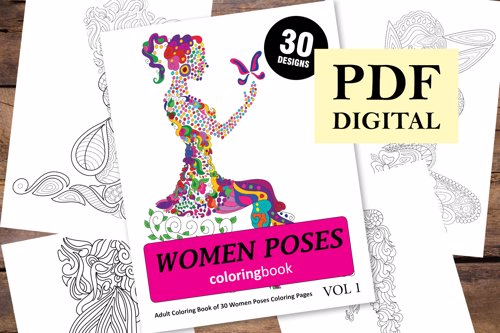 Women Poses Coloring Book for Adults