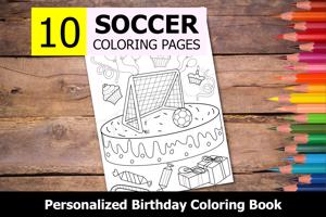 Soccer Theme Personalized Birthday Coloring Book