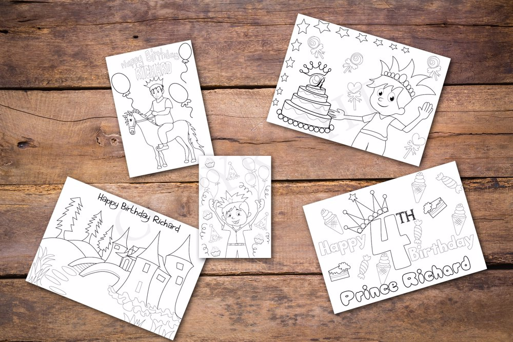 Prince Theme Personalized Birthday Coloring Book