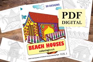Beach Houses Coloring Book for Adults