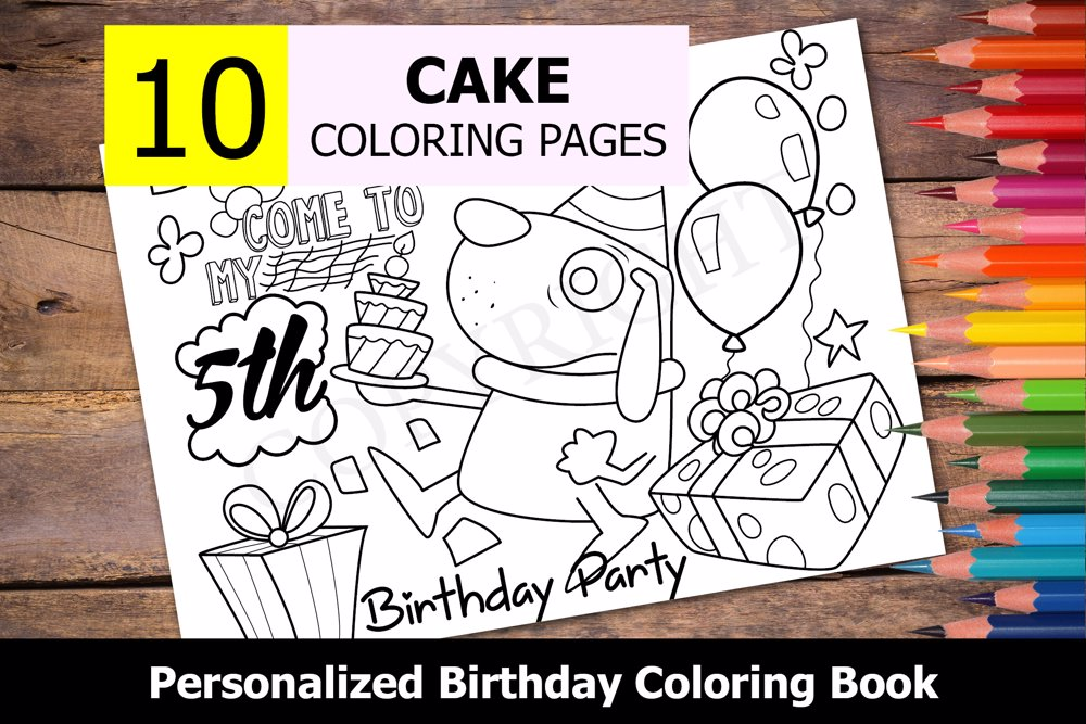 Cake Theme Personalized Birthday Coloring Book - Coloring ...