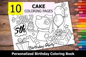 Cake Theme Personalized Birthday Coloring Book