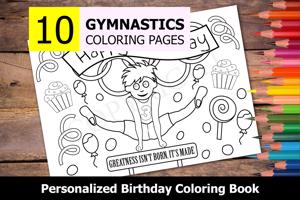 Gymnastics Theme Personalized Birthday Coloring Book