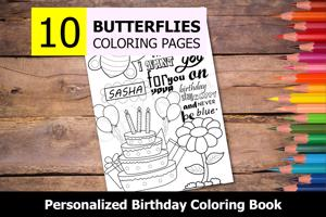 Butterflies Theme Personalized Birthday Coloring Book