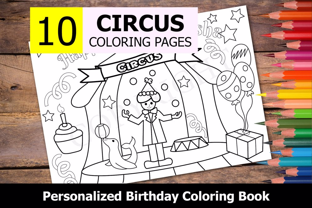 Circus Theme Personalized Birthday Coloring Book