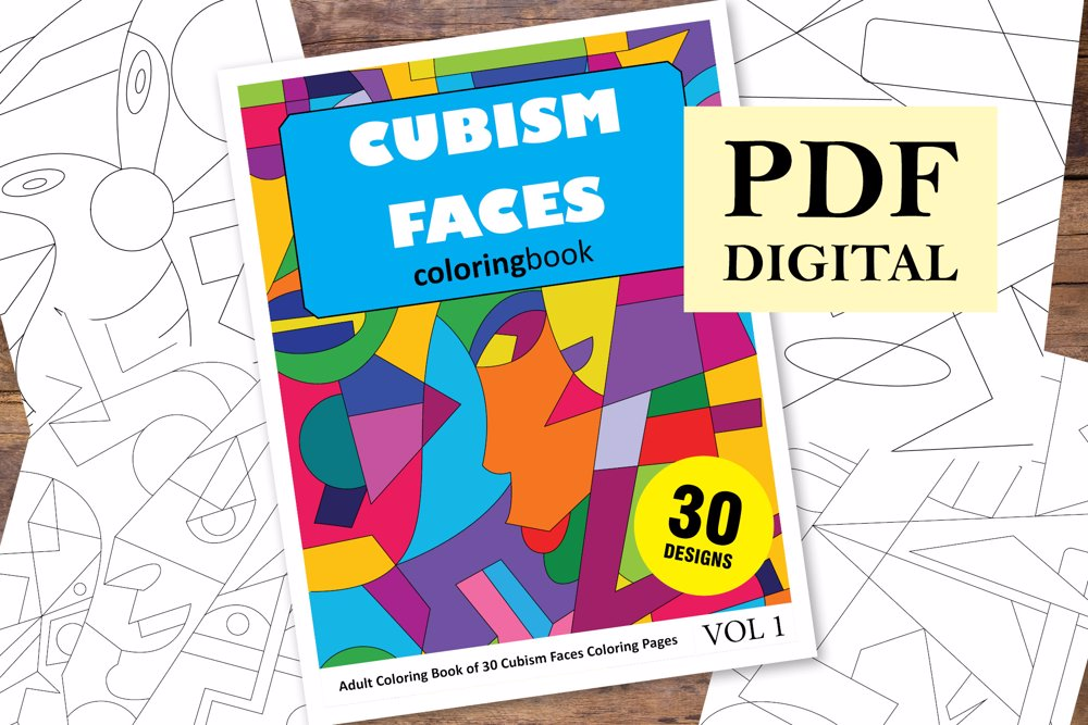 Cubism Faces Coloring Book for Adults