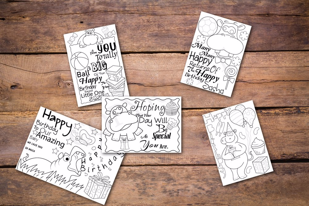 Hippo Theme Personalized Birthday Coloring Book
