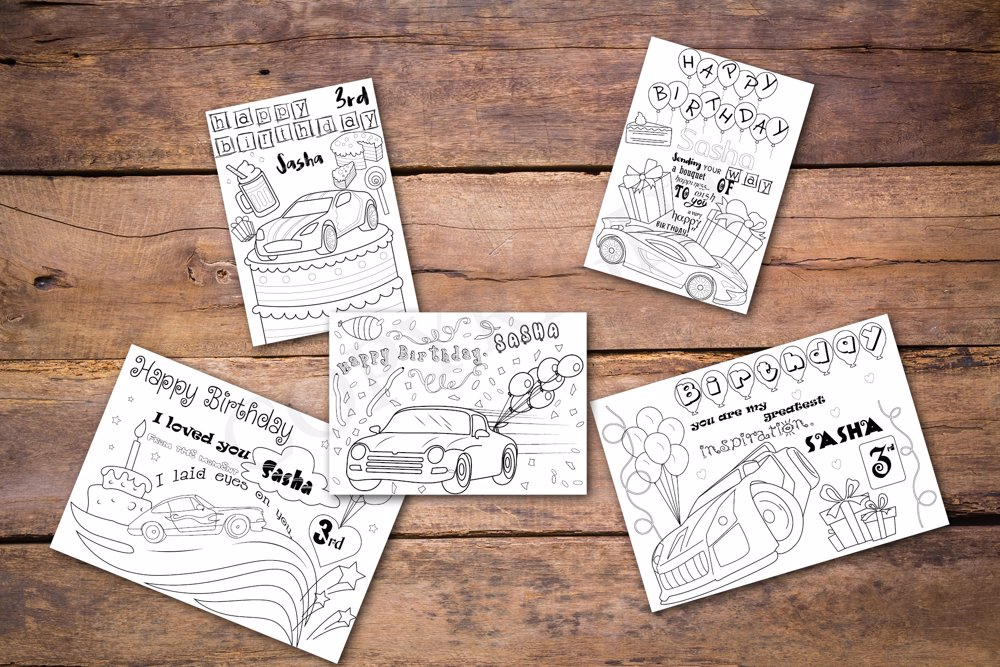 Hotwheels Theme Personalized Birthday Coloring Book