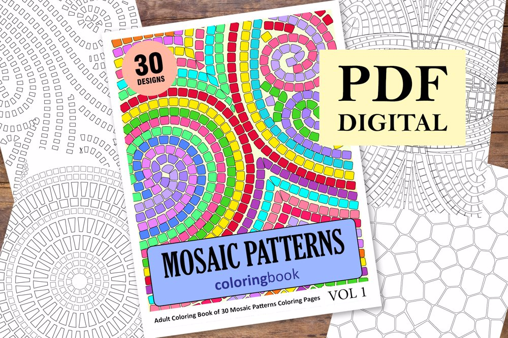 Mosaic Patterns Coloring Book for Adults