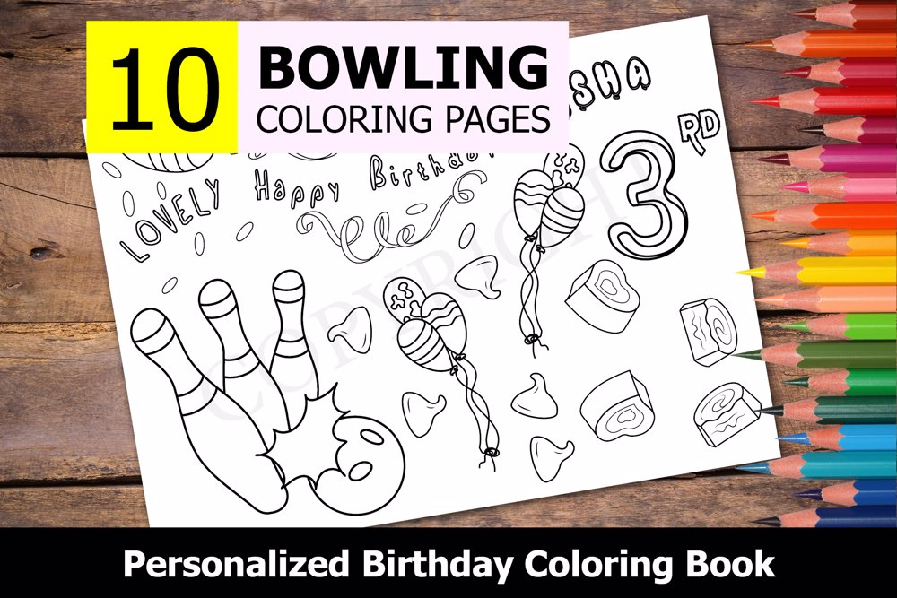 Bowling Theme Personalized Birthday Coloring Book
