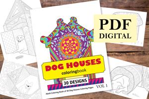 Dog Houses Coloring Book for Adults