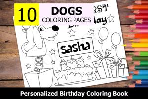 Dogs Theme Personalized Birthday Coloring Book