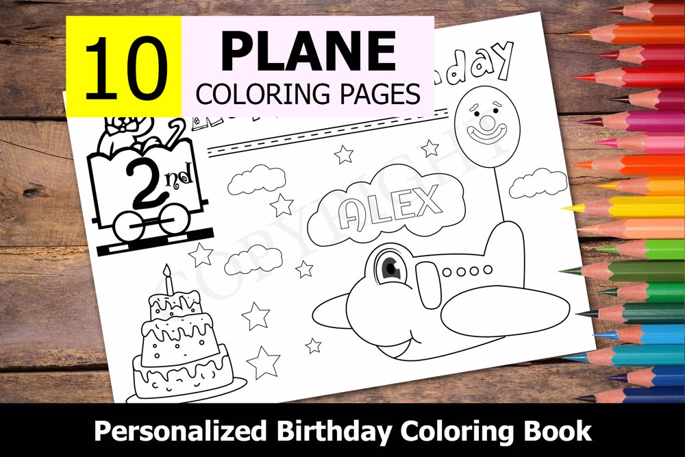 Plane Theme Personalized Birthday Coloring Book