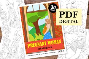 Pregnant Woman Coloring Book for Adults