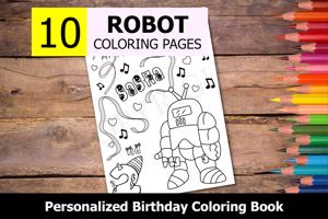 Robot Theme Personalized Birthday Coloring Book